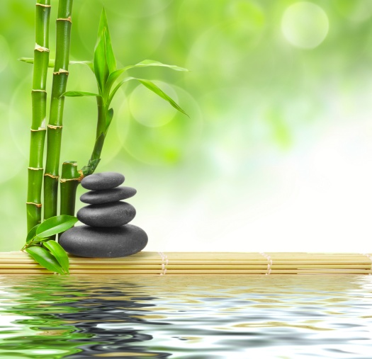 zen basalt stones and bamboo with dew