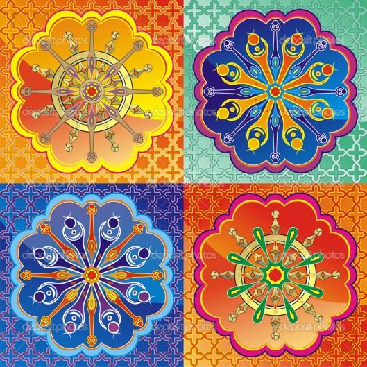 depositphotos_5867455-Set-of-lotus-and-Dharmacakra---dharma-wheel