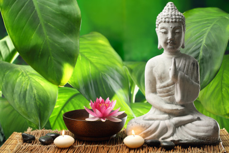 liang-zhang-buddha-in-meditation-with-lotus-flower-and-burning-candles