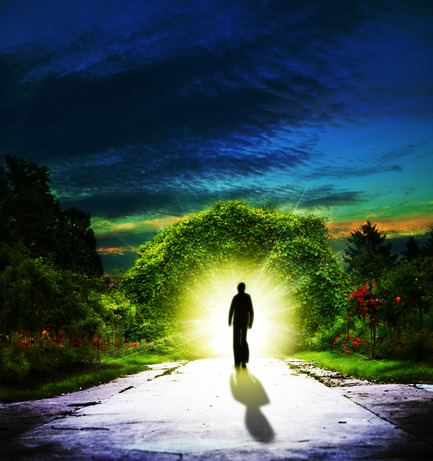 Walking to Eden. Abstract spiritual backgrounds